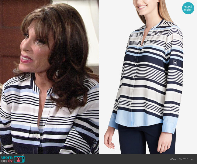 Calvin Klein Striped Y Neck Blouse worn by Esther Valentine (Kate Linder) on The Young & the Restless