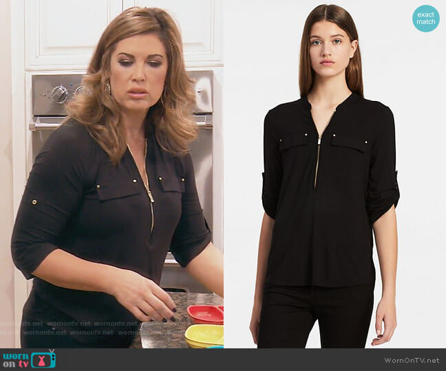 Zip Roll-up 3/4 Sleeve Top by Calvin Klein worn by Emily Simpson on The Real Housewives of Orange County