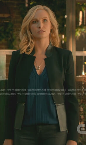 Caroline Forbes's pleated v-neck top and peplum jacket on The Originals