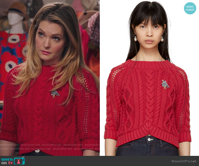 Red Cable Crop Sweater by Carven worn by Sutton (Meghann Fahy) on The Bold Type