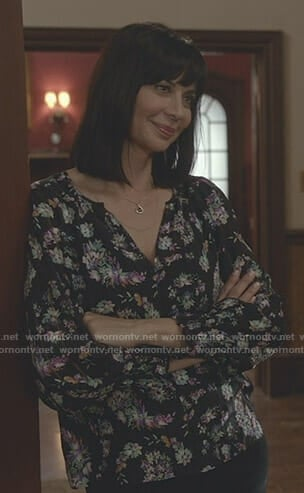 Cassie's black floral paisley print blouse on Good Witch