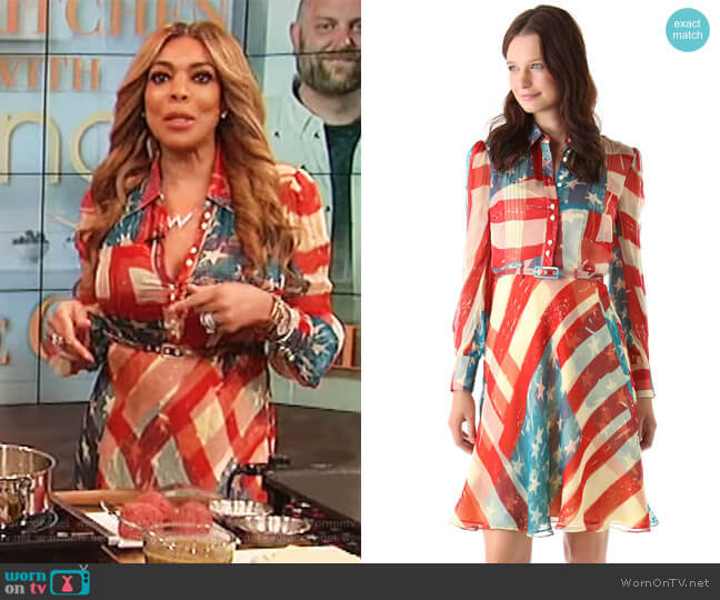 Flag Dress by Catherine Malandrino worn by Wendy Williams on The Wendy Williams Show