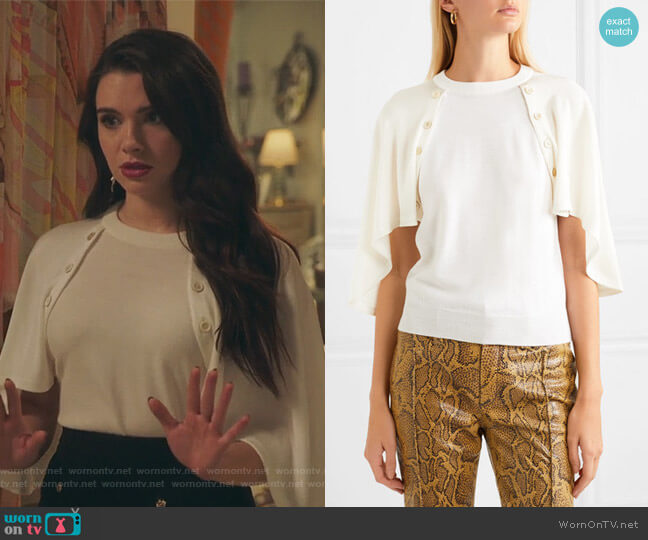 Cape-effect jersey and wool top by Chloe worn by Jane Sloan (Katie Stevens) on The Bold Type