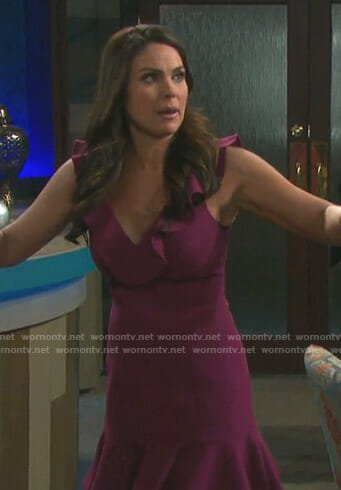 Chloe's purple ruffled v-neck dress on Days of our Lives