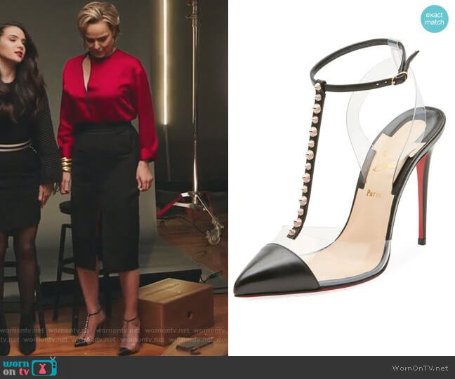 Nosy Spiked T-Strap Red Sole Pump by Christian Louboutin worn by Jacqueline (Melora Hardin) on The Bold Type