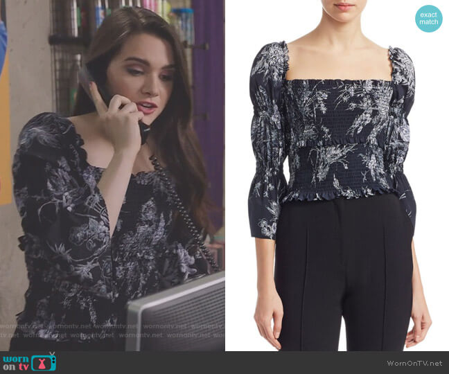Inky Floral Adelaide Smocked Top by Cinq a Sept  worn by Katie Stevens on The Bold Type