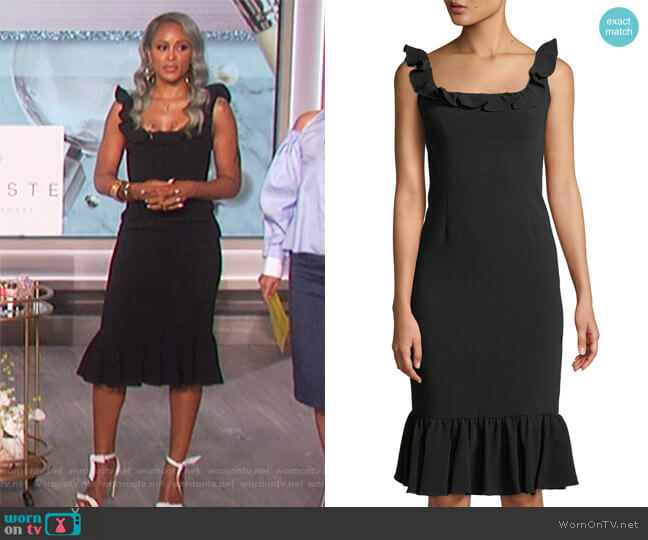 Opalina Square-Neck Flounce-Hem Cocktail Dress by Cinq a Sept worn by Eve  on The Talk