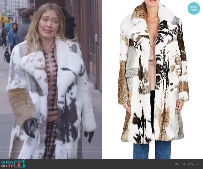Rabbit Fur Coat by Co worn by Kelsey Peters (Hilary Duff) on Younger