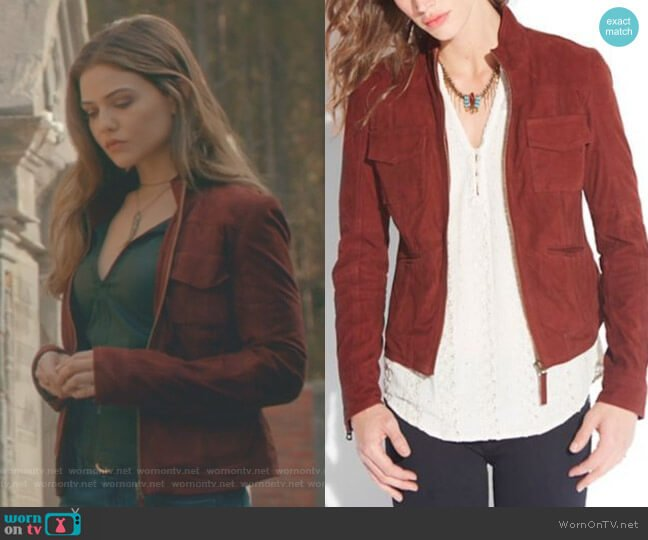 Colbie Suede Jacket by Lucky Brand worn by Danielle Campbell on The Originals