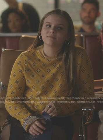 Daphne's yellow printed sweater on Nashville
