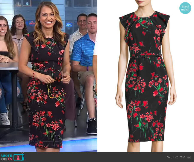 Floral Day Dress by David Meister worn by Ginger Zee on Good Morning America