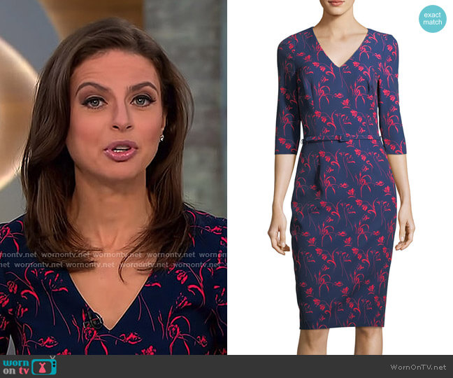 Floral-Print 3/4 Sleeves Crepe Sheath Day Dress by David Meister worn by Bianna Golodryga on CBS This Morning
