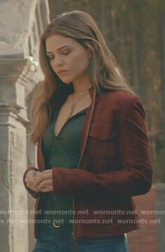 Davina's red suede jacket on The Originals