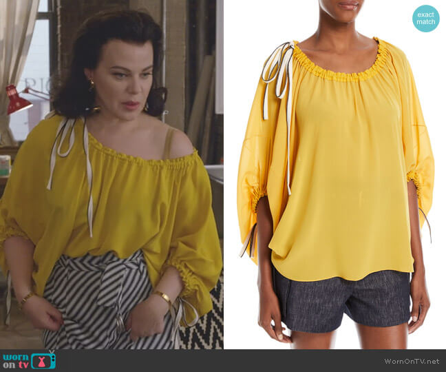 Scoop-Neck Balloon-Sleeve Silk Blouse with Drawstring Detail by Derek Lam worn by Maggie (Debi Mazar) on Younger