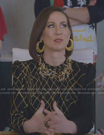 Diana's black and gold jacket on Younger