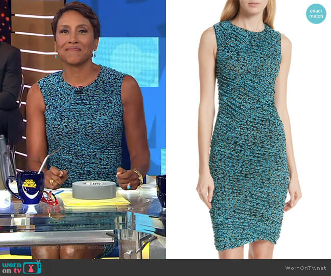 Bias Mesh Overlay Body-Con Dress by Diane von Furstenberg worn by Robin Roberts  on Good Morning America