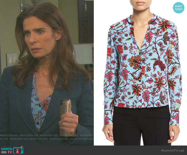 Long-Sleeve V-Neck Silk Shirt by Diane von Furstenberg worn by Kristian Alfonso on Days of our Lives