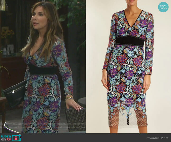 V-Neck Floral-Lace Dress by Diane von Furstenberg worn by Kate Roberts (Lauren Koslow) on Days of our Lives