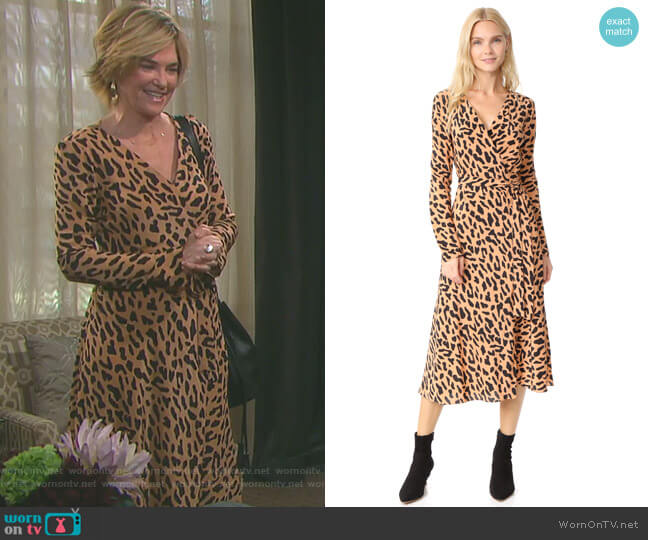 Woven Wrap Dress by Diane von Furstenberg worn by Kassie DePaiva on Days of our Lives