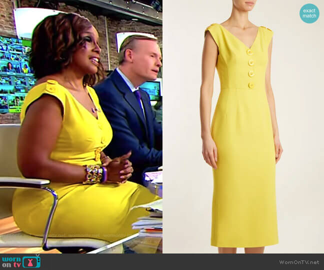 V-Neck Cady Dress by Dolce & Gabbana worn by Gayle King on CBS This Morning