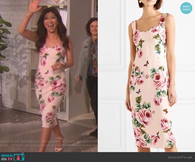 Floral-print cady midi dress by Dolce & Gabbana worn by Julie Chen (Julie Chen) on The Talk