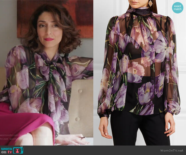 Floral-print silk-chiffon blouse by Dolce & Gabbana worn by Delia (Necar Zadegan) on GG2D