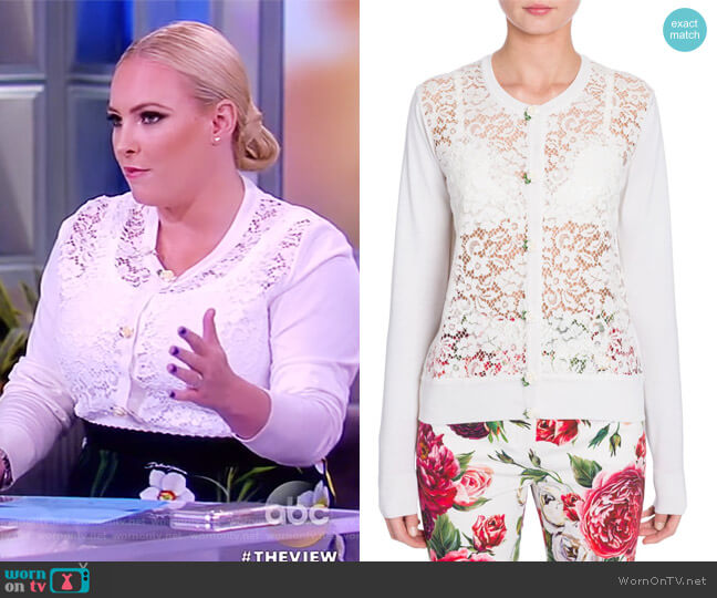 Long Sleeve Lace Front Cardigan by Dolce & Gabbana worn by Meghan McCain  on The View