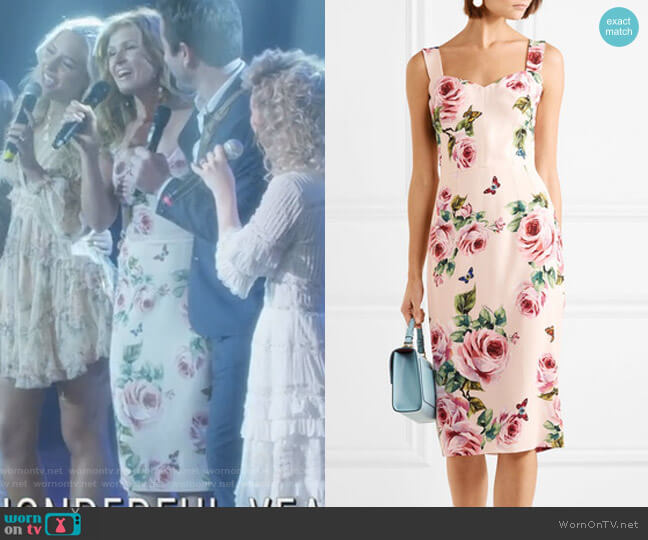 Floral-Print cCady Midi Dress by Dolce & Gabbana worn by Rayna Jaymes (Connie Britton) on Nashville
