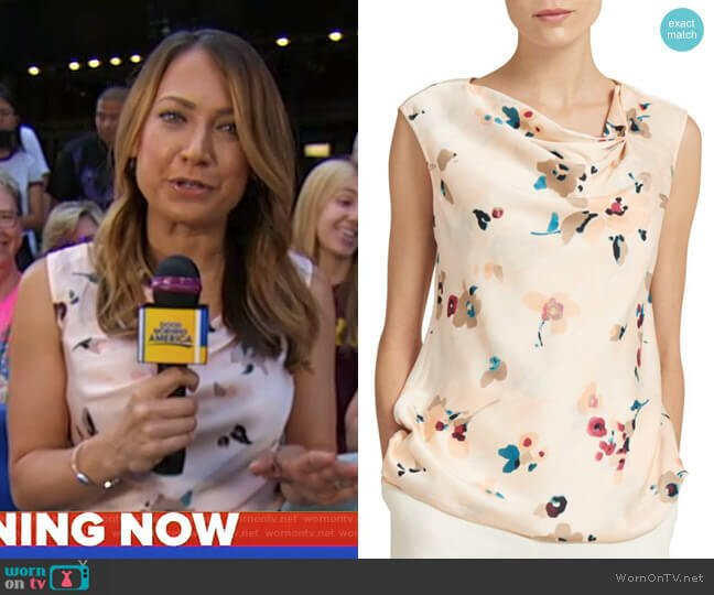 Sleeveless Asymmetric Pleat Neck Top by Donna Karan worn by Ginger Zee  on Good Morning America