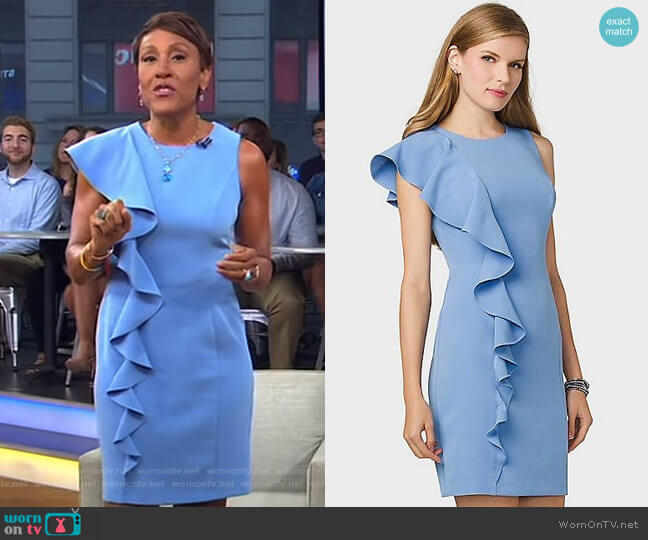 Ruffled-Shoulder Sheath Dress by Dressbarn worn by Robin Roberts on Good Morning America