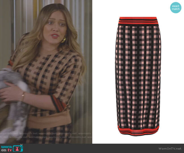 Checked Wool-Blend Midi Skirt by Dries Van Noten worn by Hilary Duff on Younger