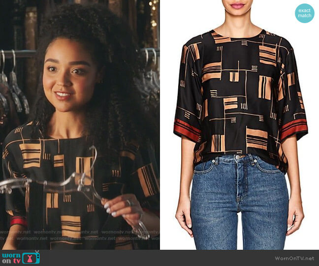 Congo Abstract-Pattern Crepe Shirt by Dries Van Noten worn by Kat Edison (Aisha Dee) on The Bold Type