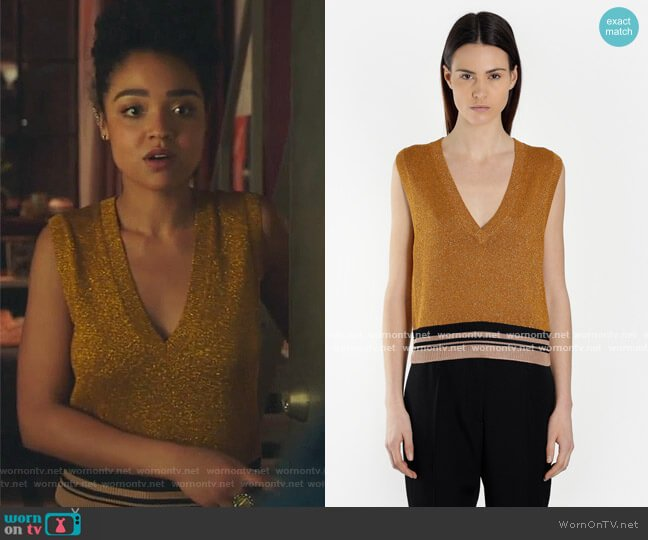 Metallic V-neck Top by Dries Van Noten worn by Kat Edison (Aisha Dee) on The Bold Type