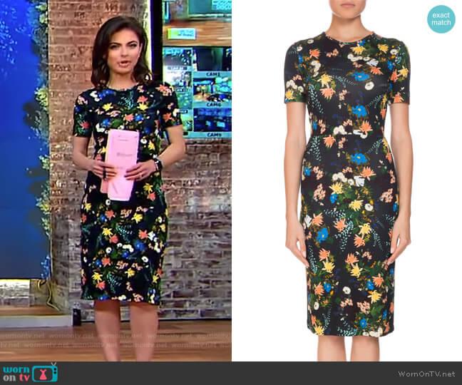 Essie Mariko Meadow Short-Sleeve Floral-Print Dress by Erdem worn by Bianna Golodryga on CBS This Morning