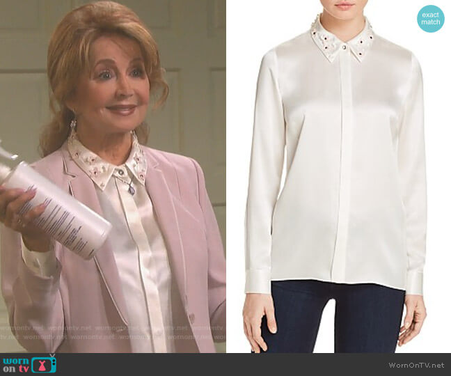 Wren Embellished Collar Silk Blouse by Elie Tahari worn by Maggie Horton (Suzanne Rogers) on Days of our Lives