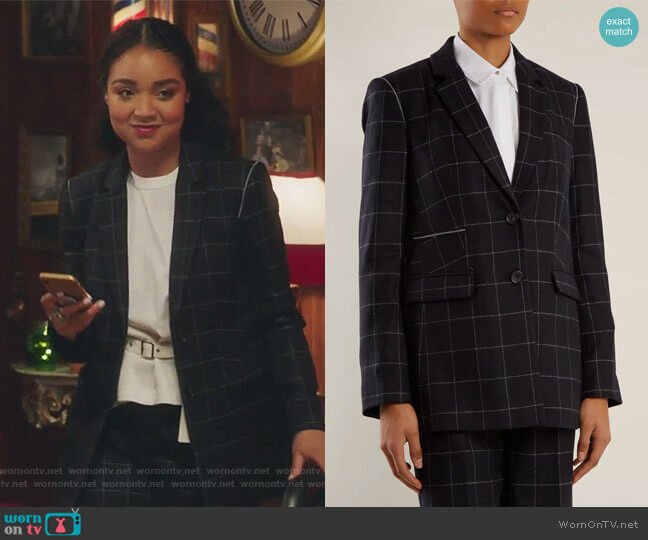 Caprice windowpane-checked wool-blend blazer by Elizabeth and James worn by Aisha Dee on The Bold Type