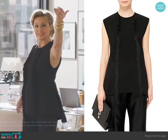 Tantalise Sleeveless Peplum Top With Fringe by Ellery worn by Melora Hardin on The Bold Type
