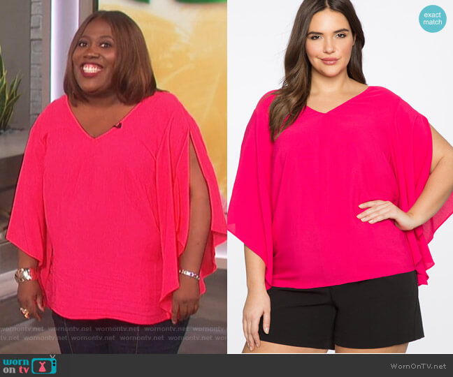 V-Neck Slit Sleeve Top by Eloquii worn by Sheryl Underwood  on The Talk