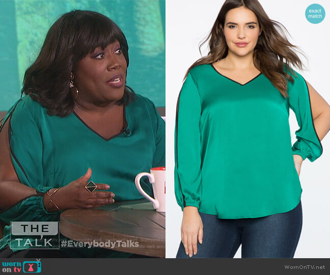 V-Neck Top with Slit Sleeve Detail by Eloquii worn by Sheryl Underwood (Sheryl Underwood) on The Talk
