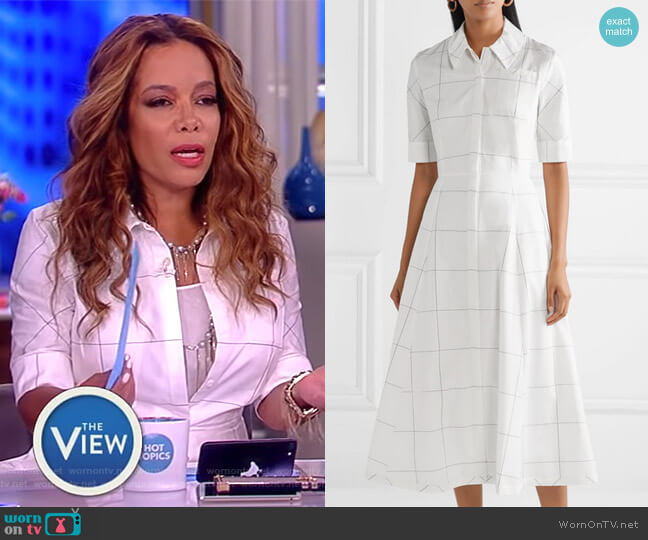 Janis checked cotton-poplin dress by Emilia Wickstead worn by Sunny Hostin  on The View