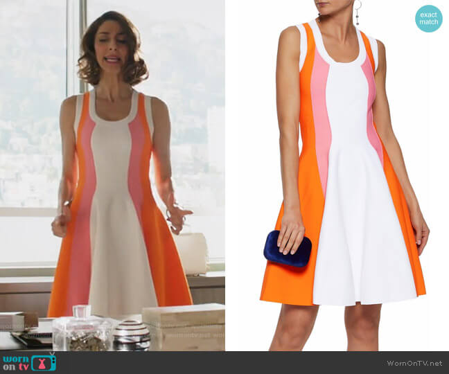 Paneled crepe mini dress by Emilio Pucci worn by Necar Zadegan on GG2D