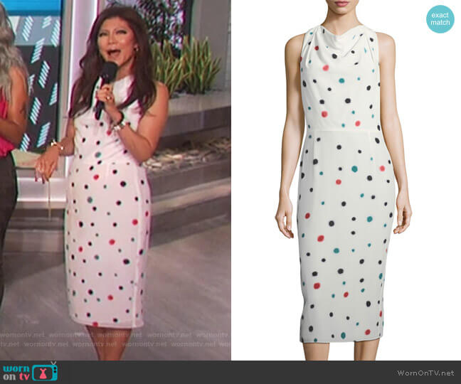 Cosmic-Dot Racerback Sheath Midi Dress by Emporio Armani worn by Julie Chen on The Talk