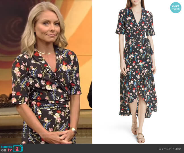 Imogene Floral Silk Wrap Dress by Equipment worn by Kelly Ripa  on Live with Kelly & Ryan