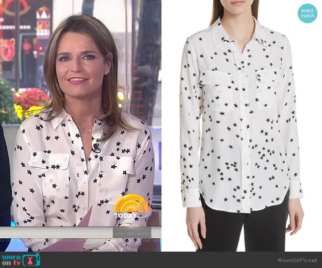 'Starry Night' Silk Shirt by Equipment worn by Savannah Guthrie  on Today