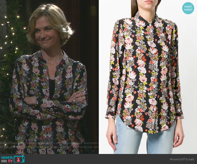 Floral Stripe Shirt by Equipment worn by Kassie DePaiva on Days of our Lives
