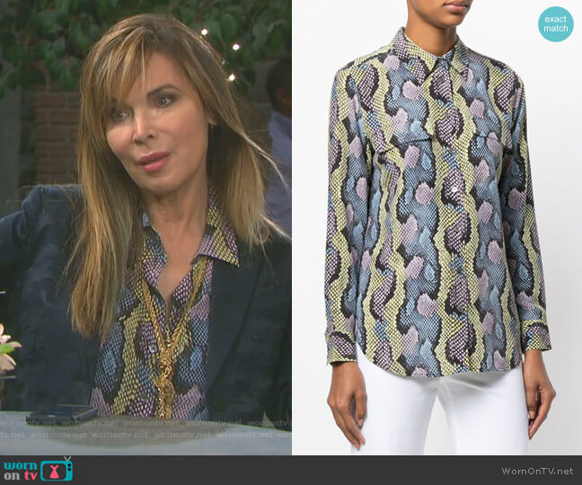 Snakeskin Print Blouse by Equipment worn by Lauren Koslow on Days of our Lives