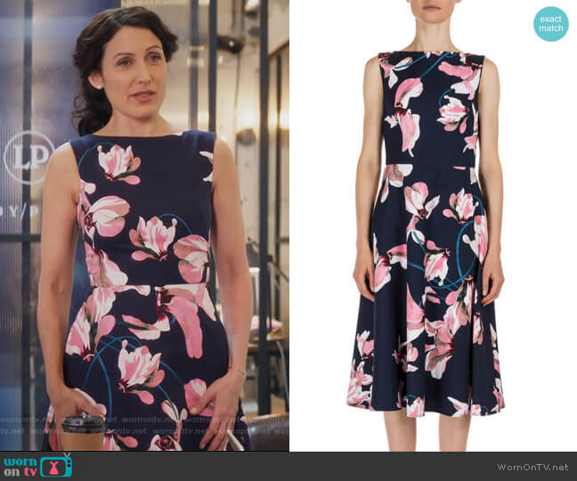 Maia Lily-Print Sleeveless Dress by Erdem worn by Lisa Edelstein on GG2D