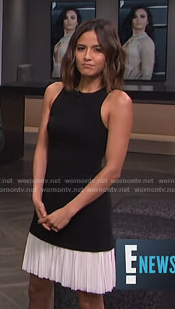 Erin's black and white pleated hem dress on E! News