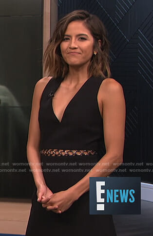 Erin's black ring waist detail dress on E! News