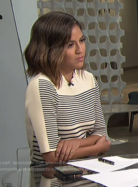 Erin's white striped ribbed top on Live from E!